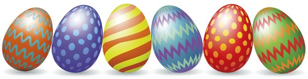 Easter eggs with shadow. Colorful Easter eggs with shadow isolated on white Royalty Free Stock Photo