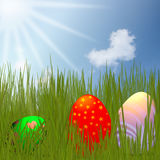 Colorful Easter Eggs sitting on grass field Stock Photo