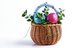 Colorful Easter eggs in a small Easter basket on a white backgro Stock Photos