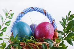 Colorful Easter eggs in a small Easter basket on a white backgro Stock Photography