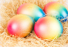 Colorful easter eggs on some hay. Colorful easter eggs lying on some hay royalty free stock photos