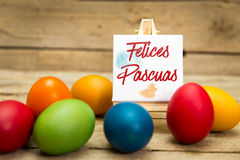 Colorful easter eggs with spanish text Royalty Free Stock Images