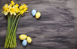 Colorful Easter eggs and spring daffodils on paper background Stock Photography