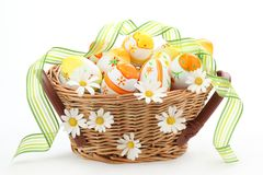 Colorful Easter Eggs with Spring Flowers Royalty Free Stock Photos
