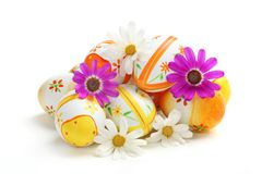 Colorful Easter Eggs with Spring Flowers Stock Photography