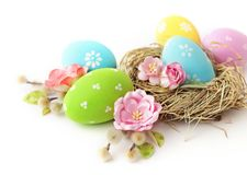 Easter eggs. Colorful easter eggs and spring flowers on white background royalty free stock photo
