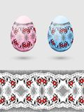 Colorful Easter eggs stylized Russian pattern Royalty Free Stock Photos