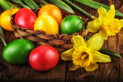 Colorful Easter Eggs sunlight effect Royalty Free Stock Photos