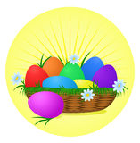 Colorful Easter Eggs on sunny background. Holiday  design Stock Photo