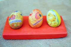 Colorful easter eggs. On the table Royalty Free Stock Images