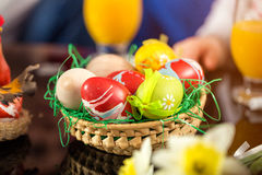 Colorful Easter eggs on the table Stock Images