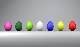 Colorful easter eggs, trendy design concept, 3d illustration Royalty Free Stock Images