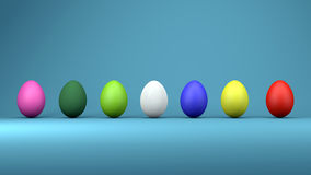 Colorful easter eggs, trendy design concept, 3d illustration Royalty Free Stock Photos