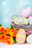 Colorful Easter Eggs and Tulips Stock Images