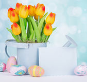 Colorful Easter Eggs and Tulips Royalty Free Stock Photography
