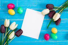 Colorful easter eggs and tulips on blue rustic wooden background. Still life. Top view. Copy space Royalty Free Stock Photography