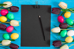 Colorful easter eggs and tulips on blue rustic wooden background. Still life. Top view. Copy space Stock Image