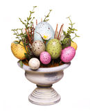 Colorful easter eggs in vase isolated Royalty Free Stock Photo