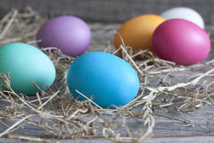 Colorful easter eggs on vintage wooden boards Royalty Free Stock Photo