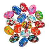 Colorful Easter Eggs on white. Hand crafted wooden Easter Eggs Royalty Free Stock Photos