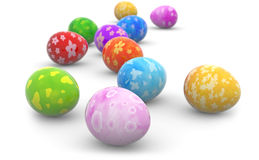 Colorful easter eggs on white background royalty free illustration