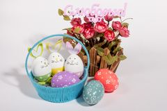 Colorful Easter eggs on white background. The inscription in Russian with Love. royalty free stock photo