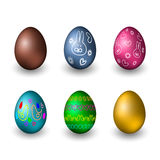 Colorful easter eggs on white background. Vector illustration. Set of easter eggs on white background Stock Images