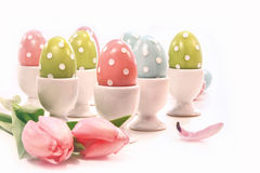 Colorful easter eggs in white cups Royalty Free Stock Image