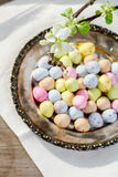 Colorful easter eggs and white flowers Stock Photo