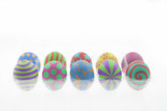 Colorful easter eggs on white isolated. Ten colorful Easter eggs season on white isolated Royalty Free Stock Image