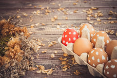 Colorful easter eggs with white points in a box on a table Royalty Free Stock Images