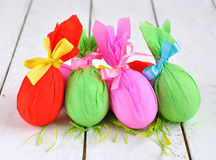 Colorful Easter eggs on a white table Royalty Free Stock Photography