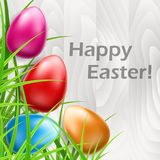 Colorful Easter eggs on white wood and grass. Colorful Easter eggs on white wood texture background and green grass. Vector illustration for Easter holiday and Royalty Free Stock Photos