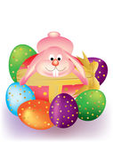 Colorful Easter Eggs With Bunny Rabbit Stock Image