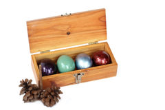 Colorful easter eggs in wood box on white background. Stock Images