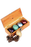 Colorful easter eggs in wood box on white background. Stock Image