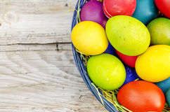 Colorful Easter eggs on wooden background Royalty Free Stock Photo