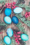 Colorful Easter eggs on wooden background Royalty Free Stock Photography