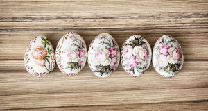 Colorful Easter eggs on the wooden background, Easter holiday Stock Image