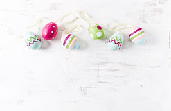 Colorful Easter Eggs on wooden background Stock Image