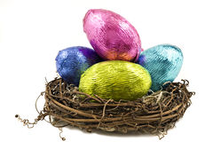 Colorful easter eggs in a wooden box Royalty Free Stock Image