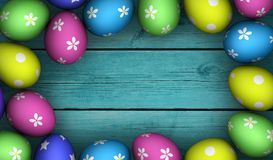 Colorful Easter Eggs Wooden Frame Background Royalty Free Stock Photo