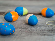 Colorful easter eggs on a wooden table Royalty Free Stock Photography