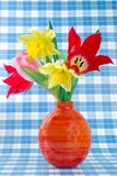 Colorful Easter flower background, tulips Stock Photo