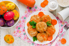 Colorful Easter Food Background Dietary Rabbit Meat Cutlets With Royalty Free Stock Photos