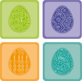 Colorful Easter Frames. 4 colorful eggs with different pattern Stock Image