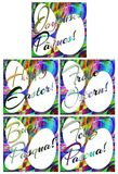 Colorful Easter greeting card with eggs in five languages Stock Photography