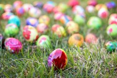 Colorful Easter egg in the grass Royalty Free Stock Photos