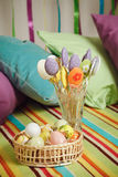 Colorful easter home interior with striped background Royalty Free Stock Image