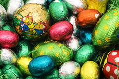 Colorful Easter nest. With many different eggs stock photos